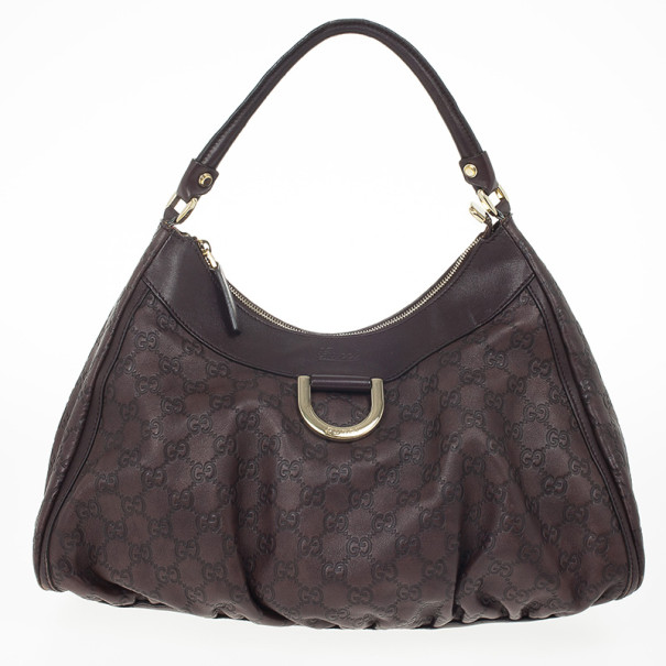 Gucci Brown Guccissima Leather D Ring Large Hobo Bag