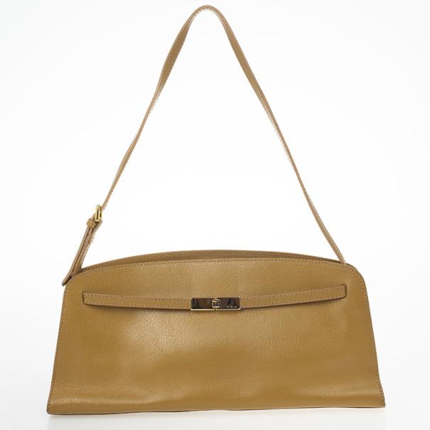 Furla Tan Textured Leather Shoulder Bag