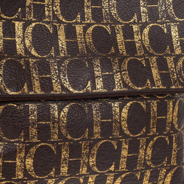 Carolina Herrera Metallic Monogram CH Leather Satchel