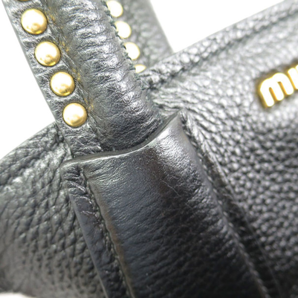 Miu Miu Black Leather Boston Bag