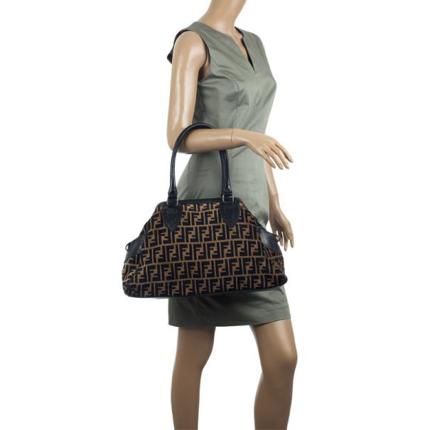 Fendi Velour Zucca Bag Du Jour Tote
