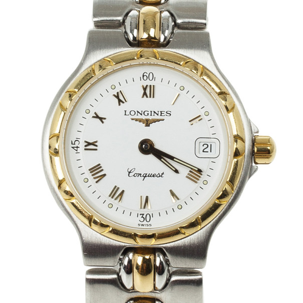 Longines Conquest Stainless Steel Gold Plated Womens Watch 37 MM