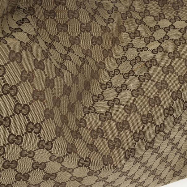Gucci Beige/Ebony GG Canvas Horsebit Large Hobo Bag