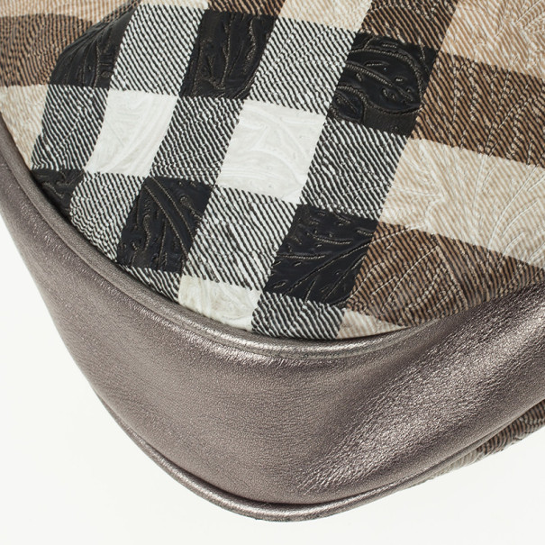 Burberry Embossed Nova Check Coated Canvas Brooklyn Hobo Bag