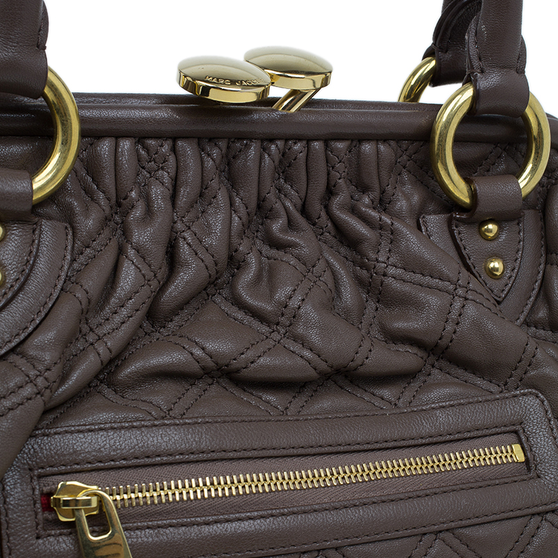 Marc Jacobs Brown Quilted Leather Stam Shoulder Bag