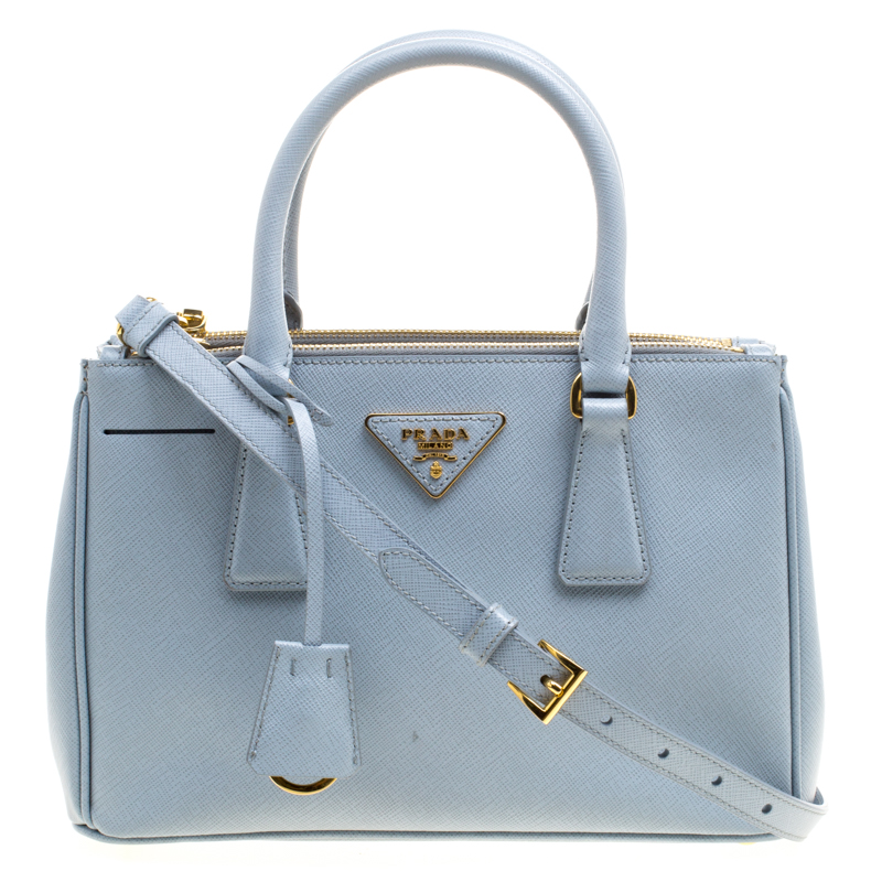 643ea4106de7ad ... czech prada mint blue saffiano lux leather mini double zip tote.  nextprev. prevnext 847cb