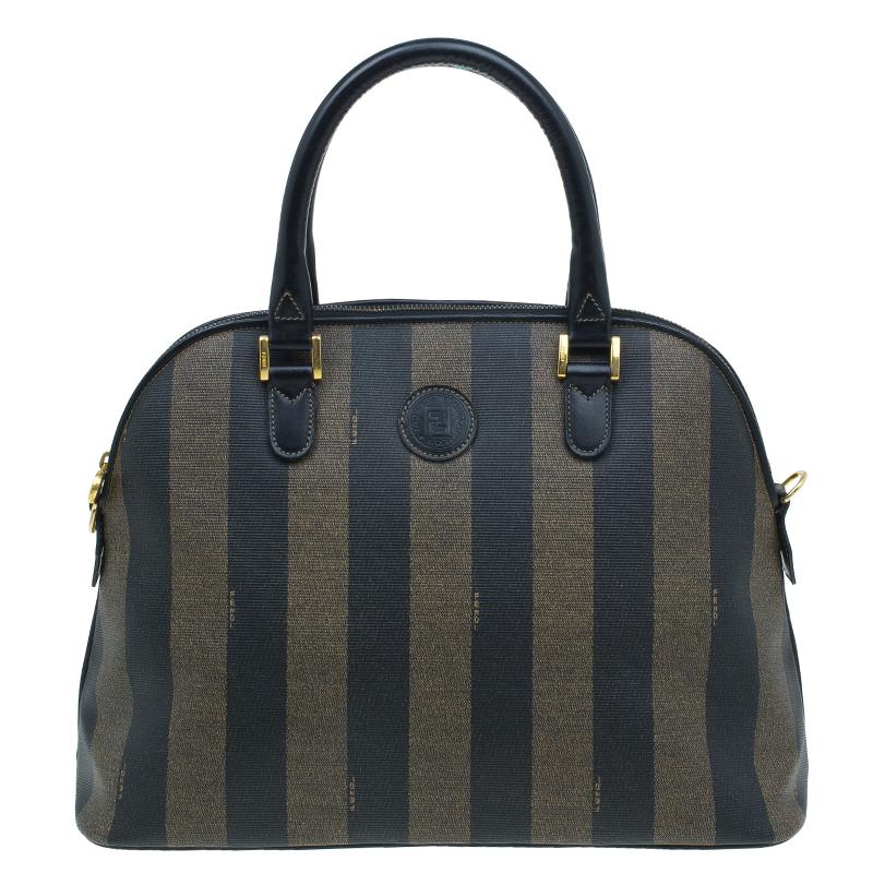 Fendi Black/Brown Canvas Pequin Medium Satchel Bag