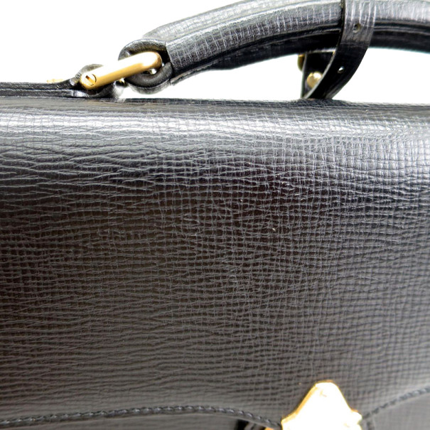Burberry Black Leather Business Briefcase