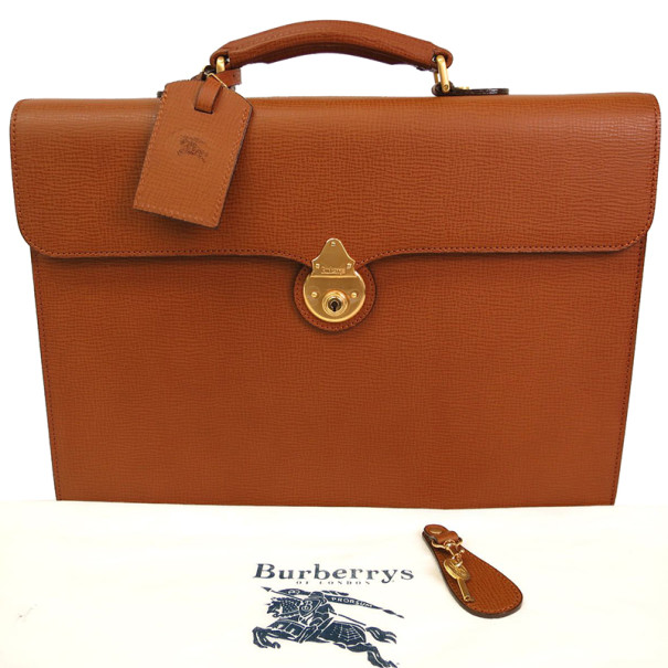 Burberry Beige Leather Business Briefcase