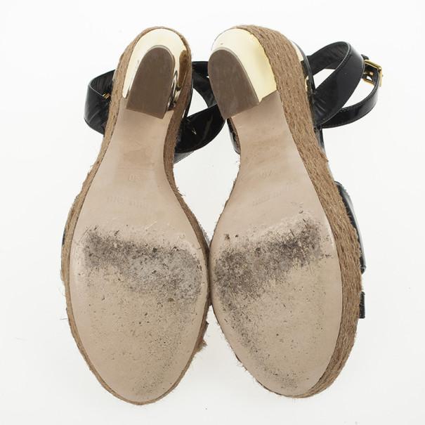 Miu Miu Black Patent Leather Espadrilles Wedges Sandals Size 40