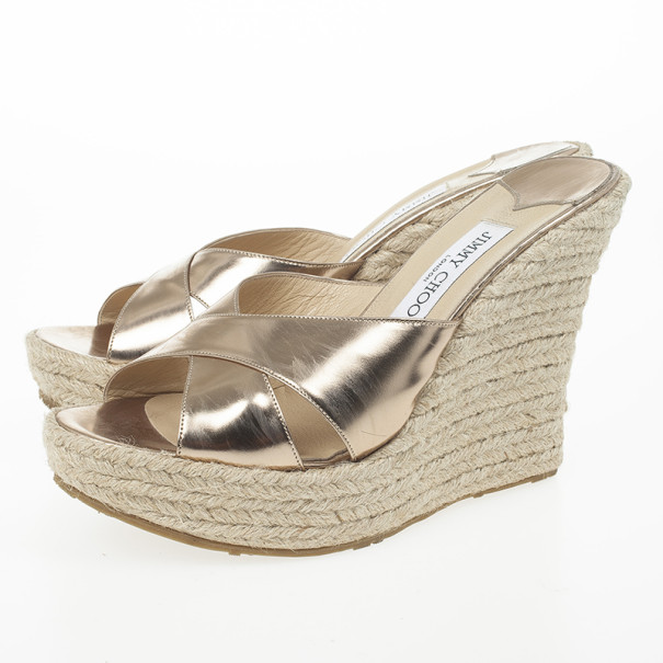 Jimmy Choo Gold Metallic Leather 'Phyllis' Espadrilles Wedges Slides Size 40