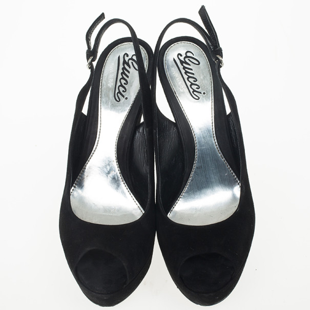 Gucci Black Suede 'Sofia' Platform Slingback Wedges Sandals Size 39.5