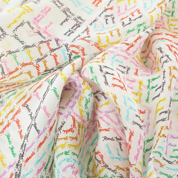 Fendi White Multicolor Zucca Scarf