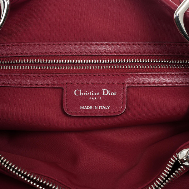 Dior Quilted Red Satin Cannage Charming Lock Satchel