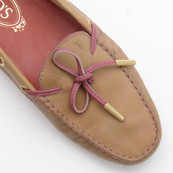 Tod's Tan Leather Bow Loafers Size 36.5