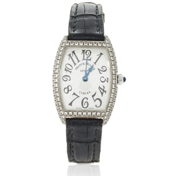 Franck Muller 18 K White Gold Diamond Cintre Curvex Womens Watch 25 MM