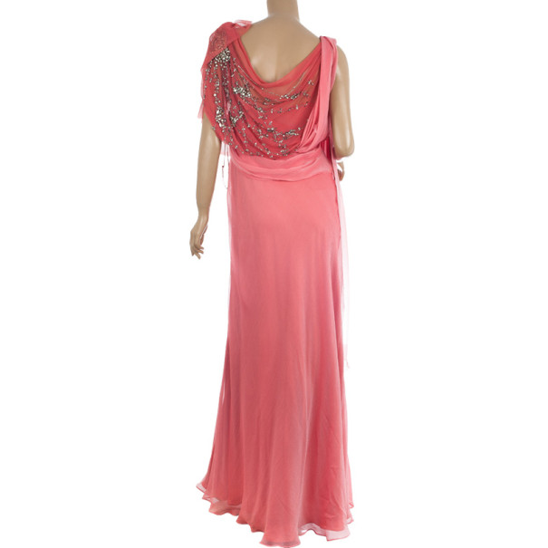 Jenny Packham Cruise S/S 2011 Coral Embellished Drape Gown L