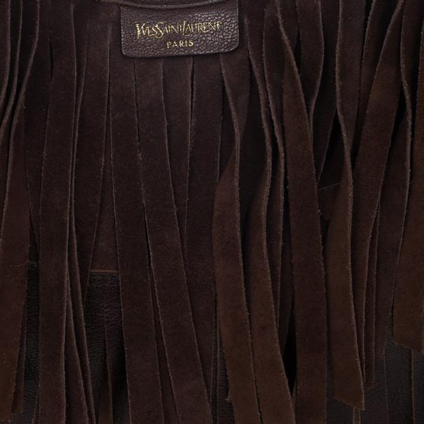 Yves Saint Laurent Brown Boheme Fringe Hobo