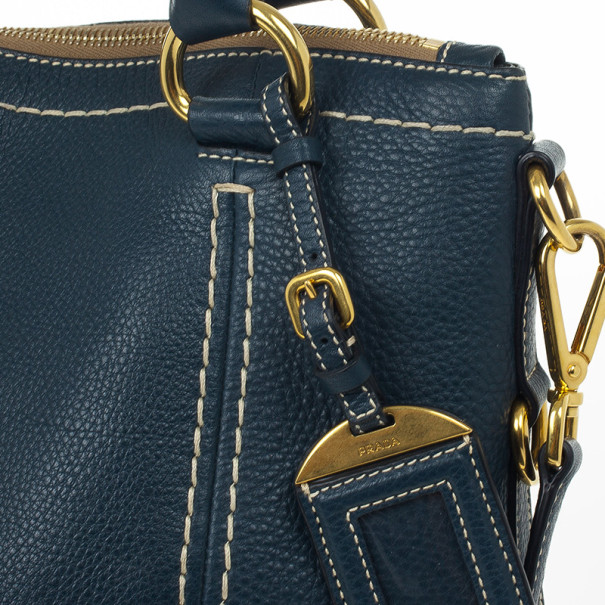 Prada Navy Leather Vitello Daino Tote