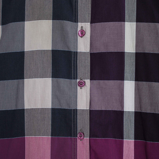 Burberry Brit Purple Exploded Check Woven Shirt S