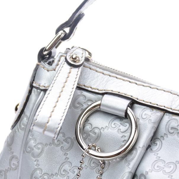 Gucci Silver Guccussima Leather Sukey Medium Hobo