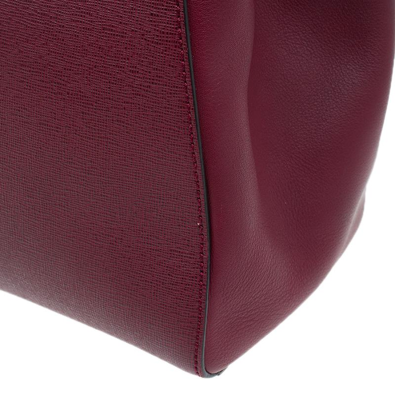 Fendi Red Saffiano Leather 2Jours Tote