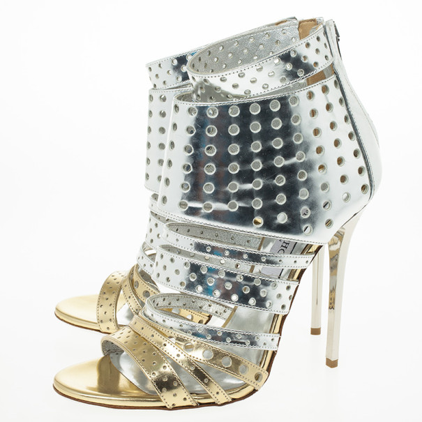 Jimmy Choo Metallic Malika Perforated Leather Sandals Size 38
