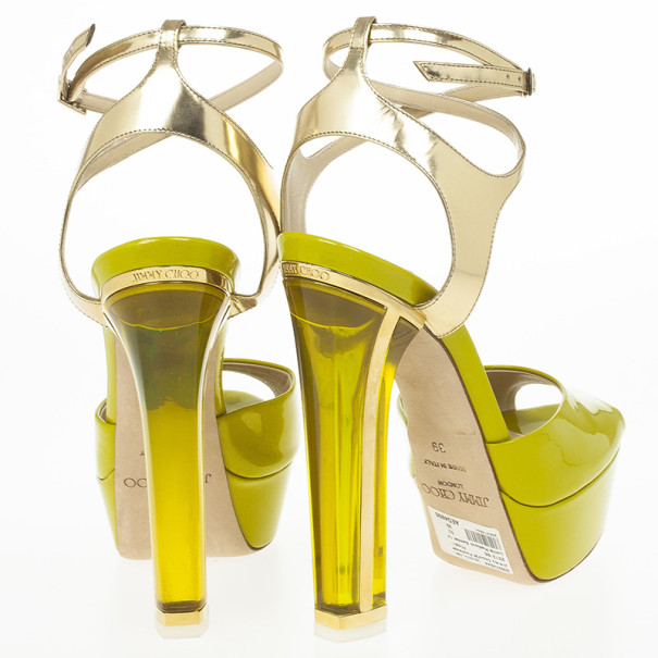 Jimmy Choo Lime Green Patent Leather Lolita Platform Sandals Size 39