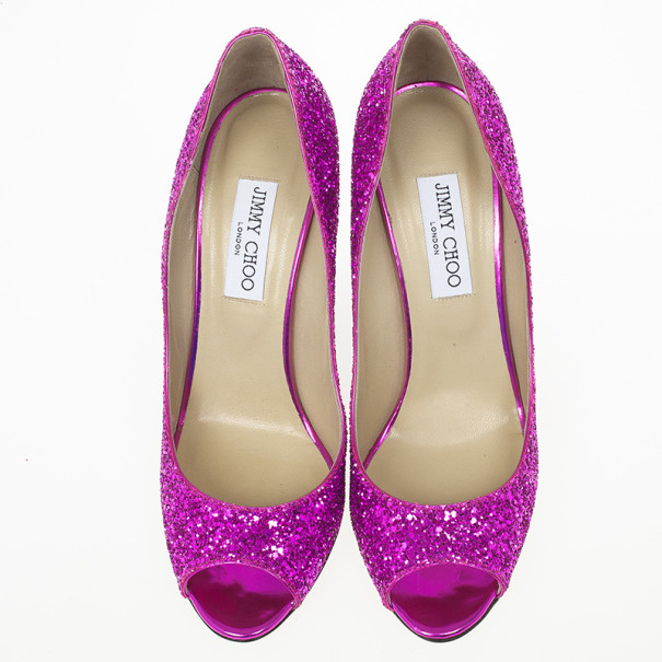 Jimmy Choo Biel Orchid Glitter Fabric Wedge Pumps Size 40