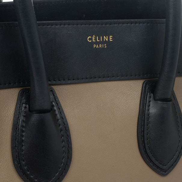 Celine Tricolor Mini Luggage Leather and Suede Tote