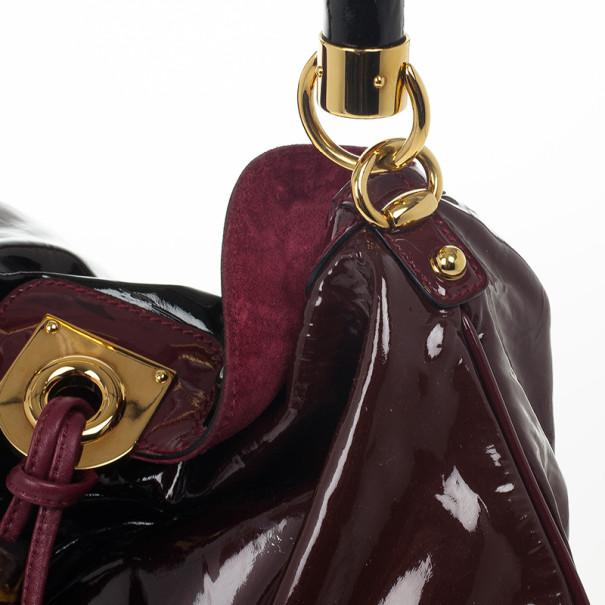 Gucci Burgundy Patent Medium Indy Top Handle Hobo