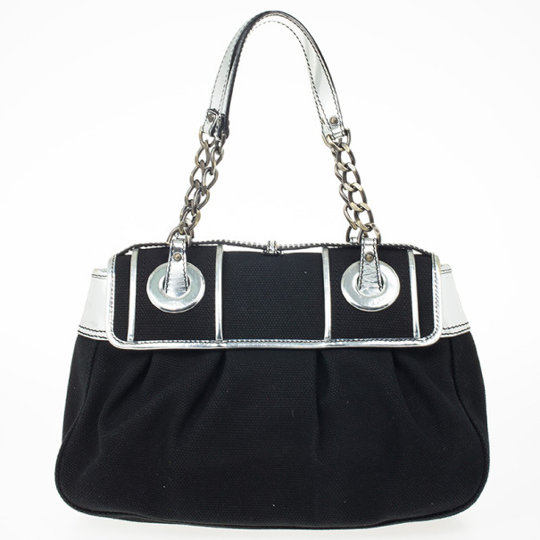 Fendi Black Canvas and Silver Patent Leather B Bag