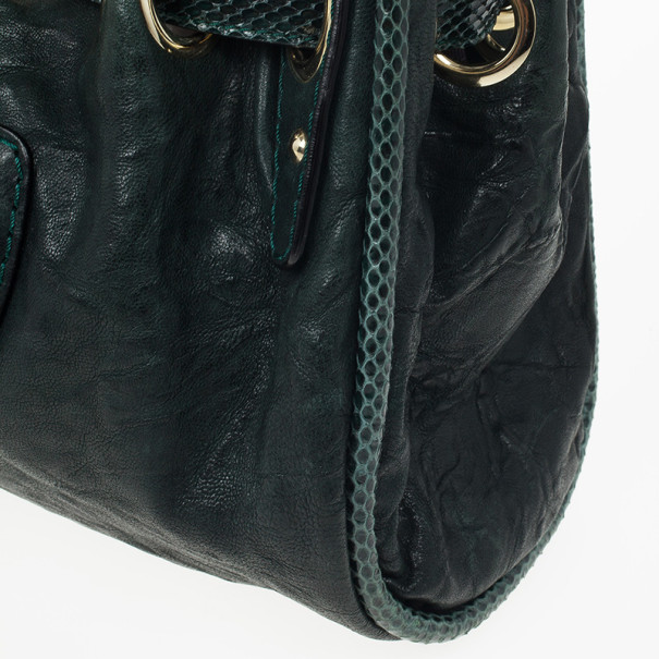 Jimmy Choo Green Leather and Python Embossed Riki Shoulder Bag