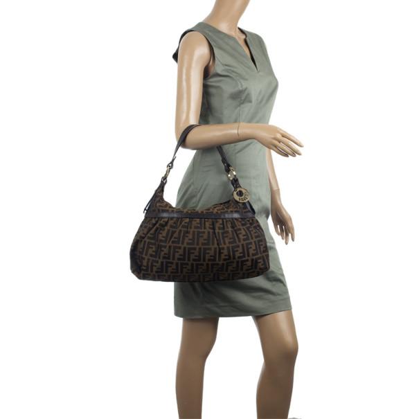 Fendi Brown Zucca Canvas Chef Shoulder Bag