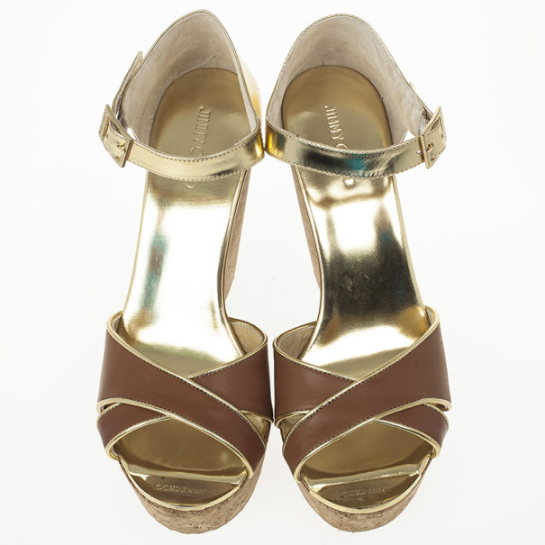 Jimmy Choo Pape Mirrored Wedge Sandals Size 40.5