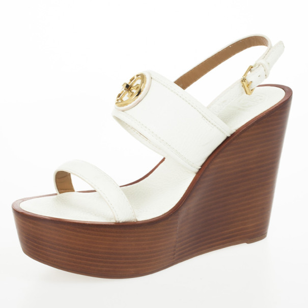 Tory Burch White Leather Selma Logo Wedges Sandals Size 40.5