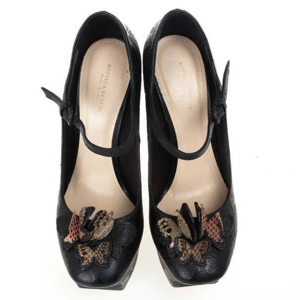 Bottega Veneta Limited Edition Butterfly Embossed Mary Jane Platform Pumps Size 38.5