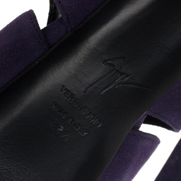 Giuseppe Zanotti Purple Suede Wave-Cutout Booties Size 39.5