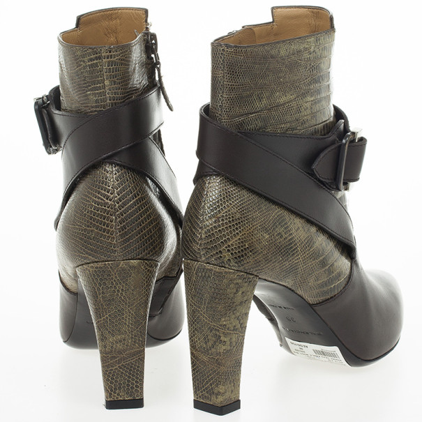 Balenciaga Snakeskin & Leather Ankle Boots Size 38
