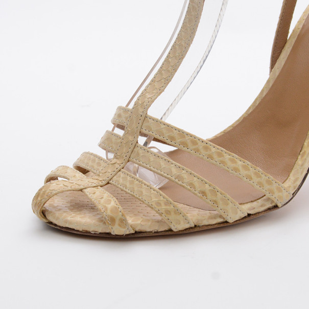 Chloe Cream Python Embossed Leather T Strap Sandals Size 37.5