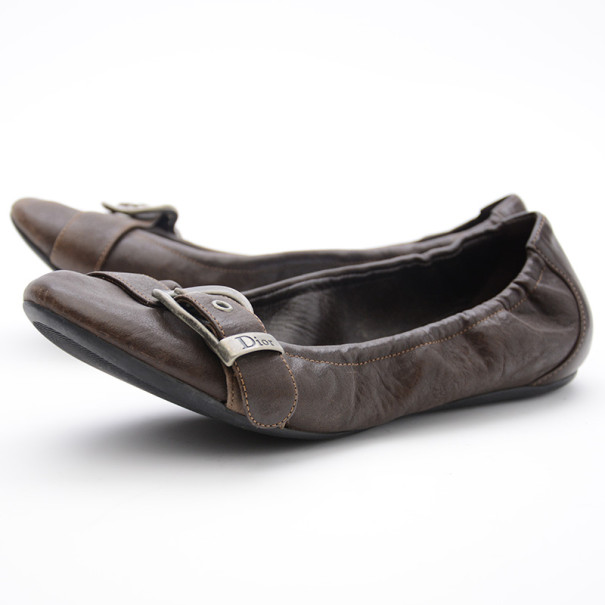 Christian Dior Brown Leather Buckle Ballet Flats Size 35.5