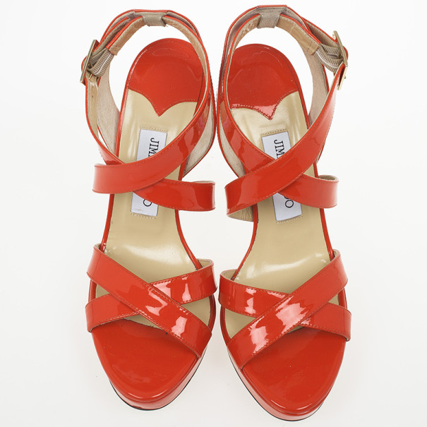 Jimmy Choo Orange Patent Leather Vamp Sandals Size 39