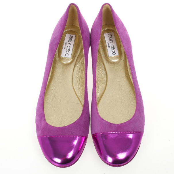 Jimmy Choo Purple Suede And Leather Cap Toe 'Whirl' Ballet Flats Size 40.5