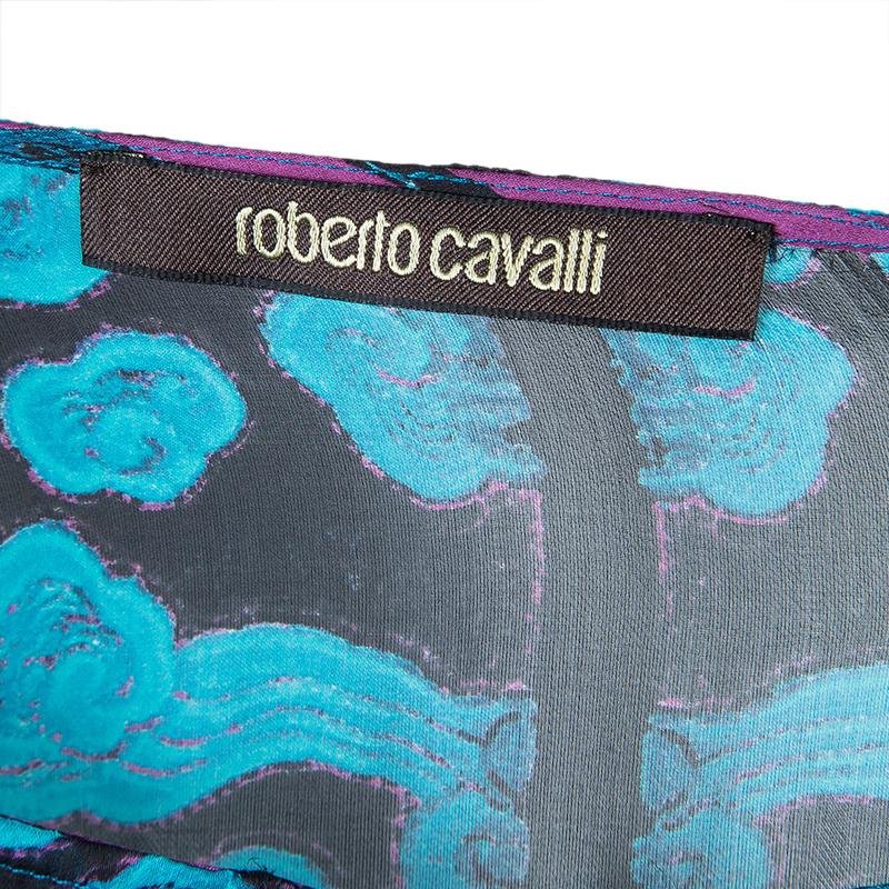 Roberto Cavalli Blue Printed Silk Kaftan L