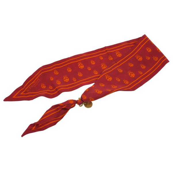 Alexander Mcqueen Red Bird Dragonfly Silk Cape Scarf