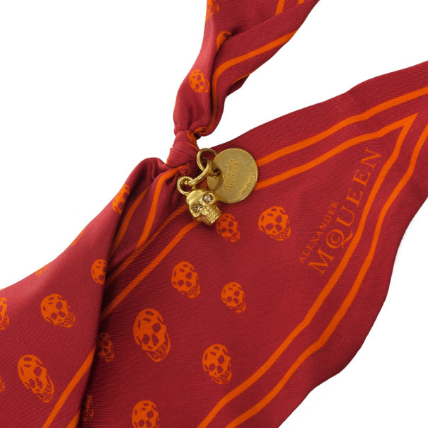 Alexander Mcqueen Red Bird Dragonfly Silk Cape Scarf