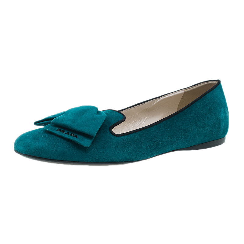 Prada Turquoise Suede Bow Smoking Slippers Size 40.5