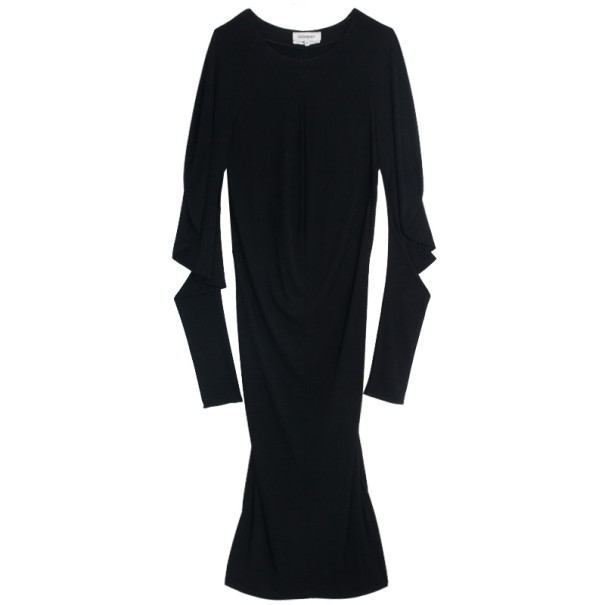 Saint Laurent Paris Stretch Sleeve Midi Dress L