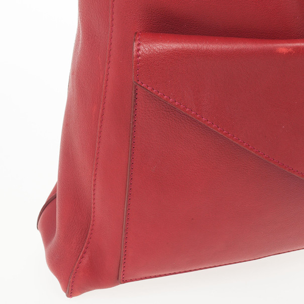 Celine Red Leather Envelope Pocket Tote