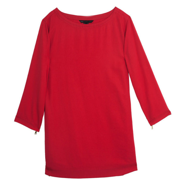 "Marc by Marc Jacobs Red ""Clark"" Long Sleeve Zipper Trim Dress L"